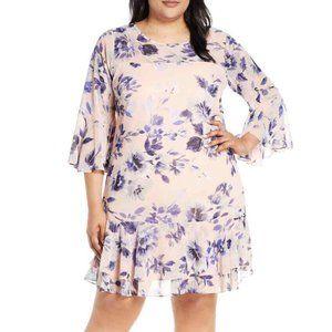 Eliza J Floral Chiffon Flounce Dress in Blush NWT